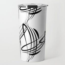 Monochrome pattern lines for decoration in Victorian style on a white background. Travel Mug