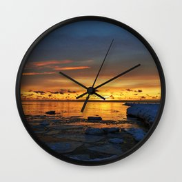 Sunset in Muskegon, Michigan Wall Clock