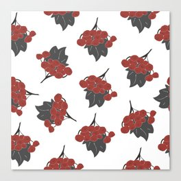 Seamless Pattern Of Rowan Spray, old traditional artistic style Canvas Print