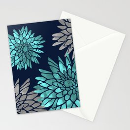 Floral Chrysanthemum Modern Navy Aqua Stationery Cards