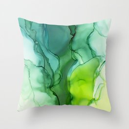Spring Greens Abstract Landscape Throw Pillow