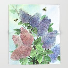 Lilacs and Bees Watercolor Painting Throw Blanket