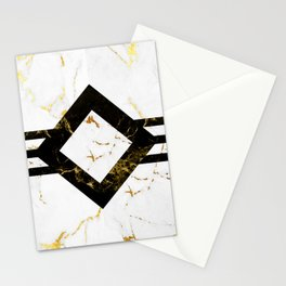 Abstract square golden marble pattern Stationery Cards
