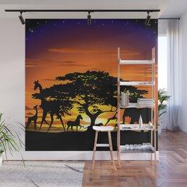 Wild Animals on African Savanna Sunset Wall Mural