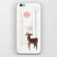 silver iPhone & iPod Skins featuring Reindeer of the Silver Wood by Poppy & Red