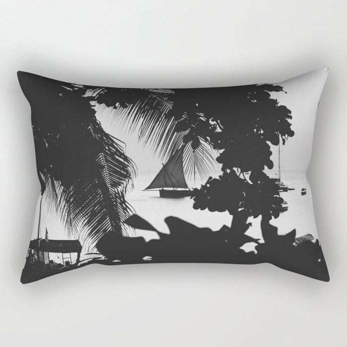Black and White Summer Rectangular Pillow