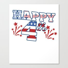 Happy 4th of July USA Flag Independence Day Canvas Print