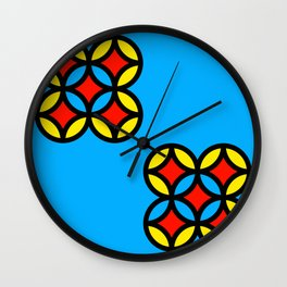 Colored Circles on Light Blue Board Wall Clock