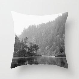 Historic Mattawa River in Black and White Throw Pillow