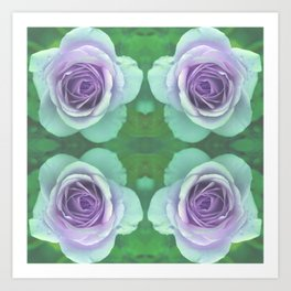 bed of roses: underwater rose quartet Art Print