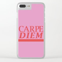 Carpe Diem pink Clear iPhone Case
