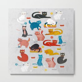 Playful Cats - illustration Metal Print