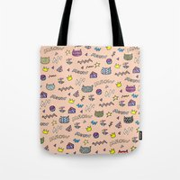 meow Tote Bags featuring meow by galactikat