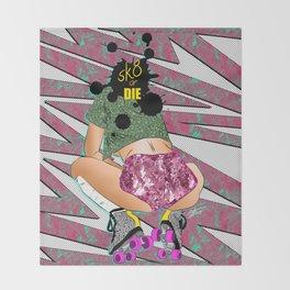 sK8 or DIE - 90's Roller Derby Girl Digital Drawing Throw Blanket