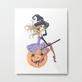 Beautiful Witch on The Pumpkin Metal Print