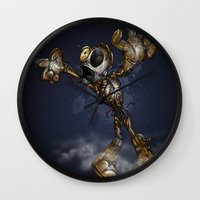 c3po Wall Clocks featuring ZOMBIE C3PO by alexviveros.net