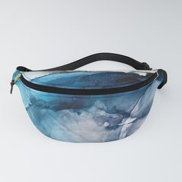 White Sand Blue Sea - Alcohol Ink Painting Fanny Pack