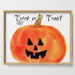 Trick or Treat Jack-O-Lantern, Halloween Pumpkin Serving Tray
