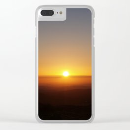 Sunset over moorland hills Clear iPhone Case