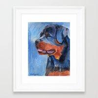 rottweiler Framed Art Prints featuring Rottweiler by Doggyshop