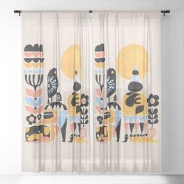 Scandinavian Pug Yoga Sheer Curtain