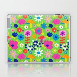 60's Country Mushroom Floral in Neon Green Laptop & iPad Skin