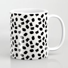 Black white moderm watercolor brushstrokes pattern Coffee Mug