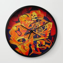 A Skeleton and Corpse Embracing Death Wall Clock