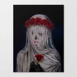 Day Of The Dead Veiled Bride Canvas Print