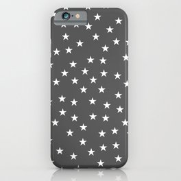 Dark grey background with white stars seamless pattern iPhone Case