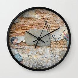 Boy With Pet Dinosaur (Street Art) Wall Clock