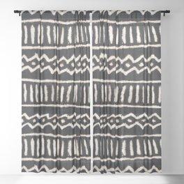 African Vintage Mali Mud Cloth Print Sheer Curtain