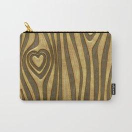 Golden Wood Grain Heart Carry-All Pouch