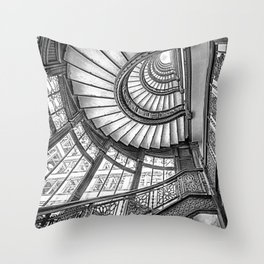 Rookery Building Frank Lloyd Wright Stairway & Glass Windows black and white photography  Throw Pillow