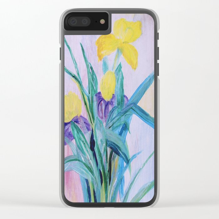 yellow irises on a purple background Clear iPhone Case