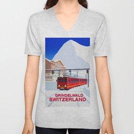 Grindelwald Ski Poster Unisex V-Neck