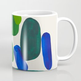 Minimalist Modern Mid Century Colorful Abstract Shapes Phthalo Blue Lime Green Gradient Overlapping Coffee Mug