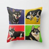 shiba inu Throw Pillows featuring Shiba Inu Pop Art by Sasha Rad