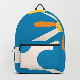 Abstract blue blossoms geometric pattern, large scale Backpack