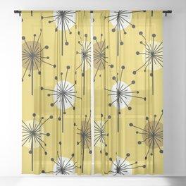 Atomic Era Sputnik Starburst Flowers Yellow Gold Sheer Curtain