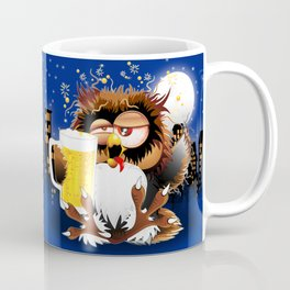 Drunk Owl with Beer Funny Character Coffee Mug