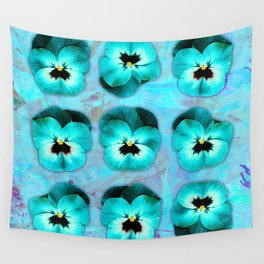 9 turquoise on light blue and violet Wall Tapestry