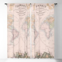 Vintage Map Print - 1849 map of The World in Hemispheres with Mountains and Rivers Blackout Curtain