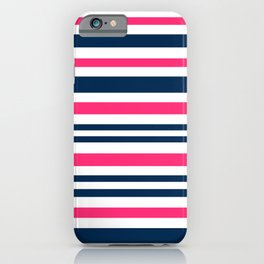 Horizontal , striped , pink , blue , white iPhone Case