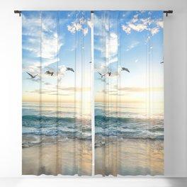 Ocean Beach Waves Sunset Photo Blackout Curtain