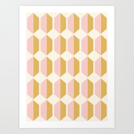 Zola Hexagon Pattern - Sunrise Art Print