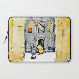 Old woman in courtyard to Tortora Laptop Sleeve