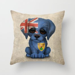 Cute Puppy Dog with flag of Turks and Caicos Throw Pillow