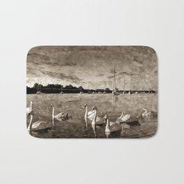 Serene Swans Watercolor  Bath Mat