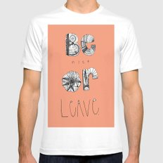 Be nice! White MEDIUM Mens Fitted Tee